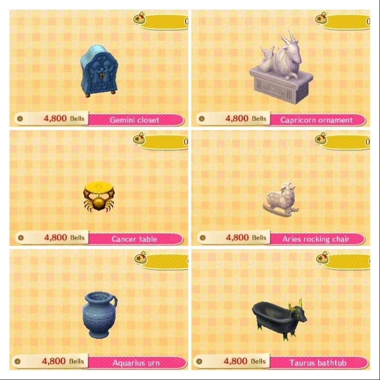 animal crossing new leaf � horoscope set g l i t t e r
